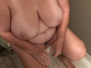 As I took this I was wondering why my dick is not between these beautiful tits