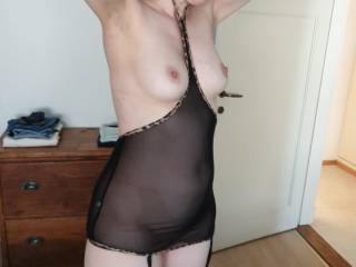 Putting on some new lingerie