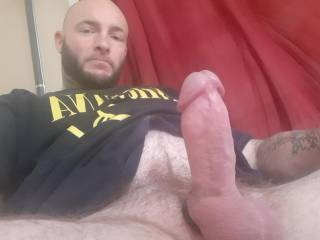 Just about to stoke this fat cock and cum everywhere