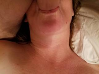 My wife has a vibrator buried in her pussy while my cock is deep in her throat