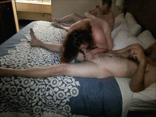 Wife in a local hotel room with 2 guys she met off the internet having a threesome