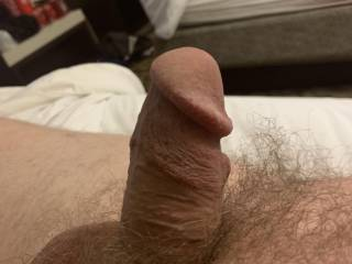 Left side view of my big boner in a temple hotel room