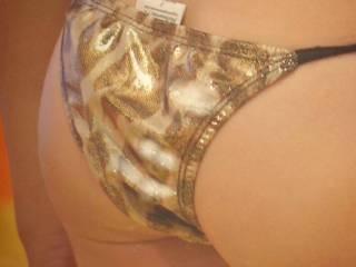 my fresh, warm sperm on her cute butt and sexy leopard print bikini panties ~ running down her thigh too