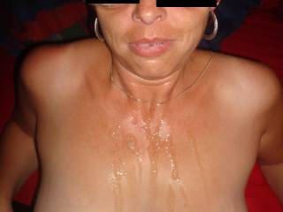 mmmmmmmm, love your cum drenched chest and luscious tits, i'd enjoy licking and sucking every drop off your sensational body!!!!