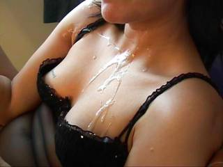 Beautiful cum shot! Wish I could lick and eat all that sperm from her chest!! Looks so tasty!