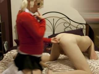 My dirty little friend dressed up as a schoolgirl and invited me round. Then she gave me a good ass fucking
