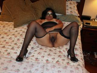Lingerie and heels with legs spread and pussy exposed...wanna fuck me?