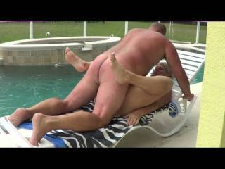The Mrs getting drilled by the pool.