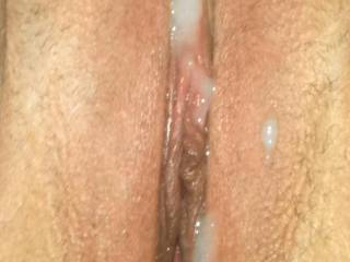 Blew my hot load all over her pussy, any ladies volunteer to cum lick it off her?