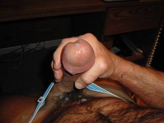 The result of looking at web pictures of beautiful women and hard dicks. Good, messy fun. Would have liked someone there with me to watch my cum flow.