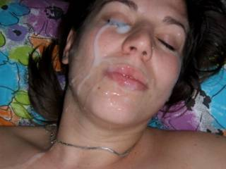 And we love seeing it on your prety face.  Amazing load on this sexy lady.  Gotta love a girl who loves it on her face.