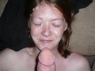 a load on my gfs face after a great dick sucking