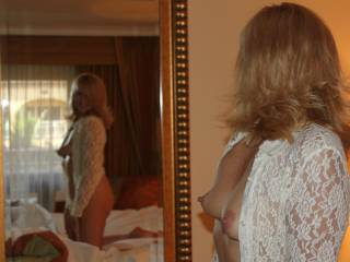 Gorgeous!  I'd love to be kissing, sucking and nibbling on those milf nipples while we watch ourselves in the mirror...