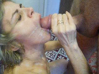 Thanks for filming your wife with your friend, it's great seeing her milk his big cock and kiss his big aching swollen cock head with her cum covered lips and seeing his hot jizz pouring of your wife's chin.
