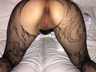 I'd make you spread your cheeks, use both your hands, reach around behind you, with your back arched and ass up! I'd spank your ass cheeks with my left hand but use my hard cock to spank your wet inner lips back and forth and up and down, teasing your clit from behind until your juices cover my dick and are running down your thighs. And you are shuddering and shaking.