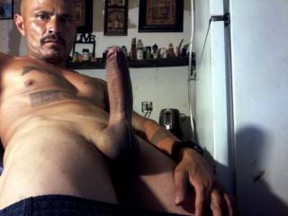 this photo was taken at home just wanted to show the ladies how hard I get , do any of you beautiful women love a cock like this ?