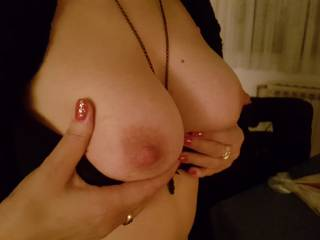 Wonderful tits ...have new pictures of this girl. We fucked last weekend 48 hours😆. Every position, in the house, on the table in bedroom...it was incredible for me. She loves to squirt and do everything for it. If you want search my videos for more.ty