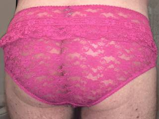 Sexy pink, frilly lace panties