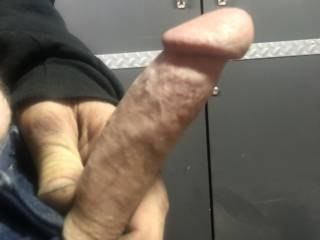Just stroking my cock in the shop during work