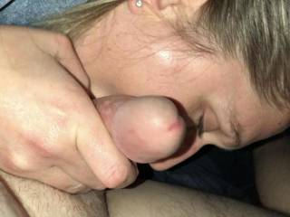 While blowing me she used her tongue to move down my cock to my balls and then under my nuts.. felt mind blowing