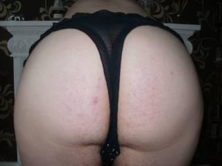 close up of me bent over in black panties