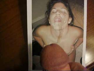 lov2jerkoff gets a big spurt on her face and a lap full of cum!