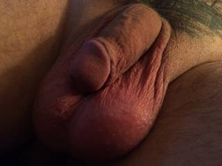 Mmm...big suckable balls, love to take that cock in my mouth, big balls on chin, and feel it growing hard