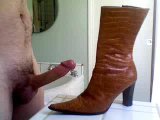 so horny and so hard! my cock was throbbing. these are my wife's boots, when she wear's them she's about 6'0. I've never stroked to shoes or boots before, but the thought of my wife bending over wearing these is so hot! what do you think?