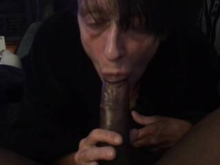 She almost choked on this load but decided to let it spill out of her mouth & rub all around that mouth made to suck cock
