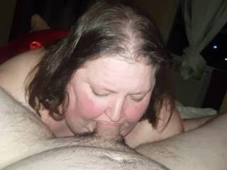 clip from a mature bbw that loves young guys to blow. I finished in her mouth right before she sucked and swalloed my buddie. Her husband watches on web cam while he is working out in west texas.