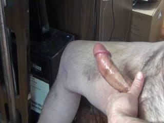 A little puddle of cum
