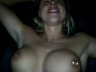 Wow... amazing girl! Great firm tits, great smile... and loves cum