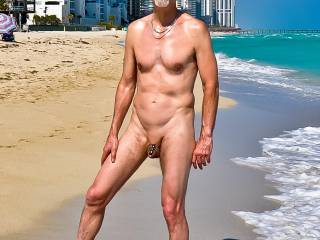 Me--on Haulover Beach, Miami--sporting my first bit of penis decoration.  It took awhile to conjure up the courage to wear it in public.