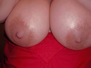 My pleasure would be to run my tongue around your big areolas and tease those big nipples