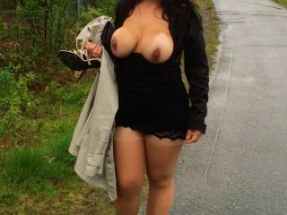 Just one more walking home from the party...boobs out and no underwear:-)