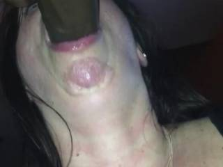 Sucking my cock, balls and ass from the back. And doesn\'t miss a fucking spot!
