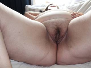 Spreading so you can all look at my hairy BBW pussy.
