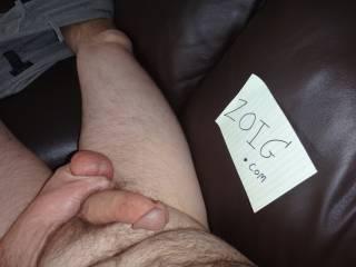 mmmmmmmm Squeezing my Full balls 4 U on my couch