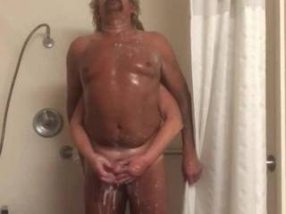 A soapy hand job for my S A Fuck Hubby. 