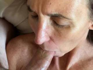 A little bit of everything. Toy in her pussy, her cum on the sheets. Cock goes from her pussy into her my. She licks my cock. So good!