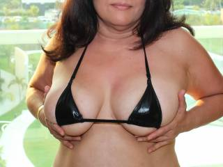 Photo 1 of 2:  Mexico beach vacation...Tiny bikini top with nipples barely covered!