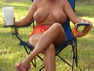 chillin out topless outside