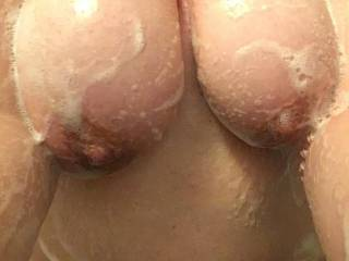 Bbw girlfriend in the shower with soapy tits