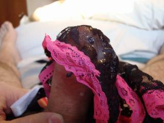That is the way to enjoy panties, filling them with cum.