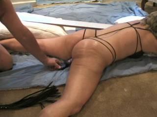 Ummmm , such a hot ass.  I would love to cock spank that Sweet Ass till she flooded herself!