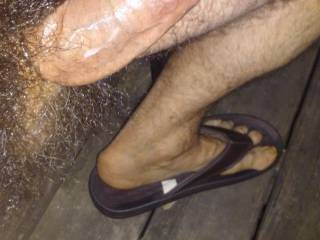 Stroking my big hard cock on the front porch.