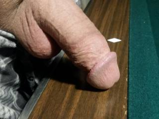 Fat cock.  Semi erect.  Want to play with it?