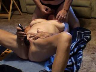 Love it when he squirts that big load of cum all over my chest and neck just after I\'ve  had what seemed like a five minute long orgasm with my vibrating wand stuck to my clit.  Did you enjoy watching us cum? Did we make you cum?