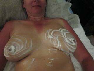 Who wants to lick the whipped cream off of my tits?