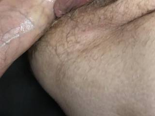 Kiki with my cock in her spreading her hairy pussy so I can see her cum filled hole when I pull out